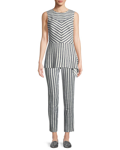 Stretch-Linen Multi-Stripe Twill Asymmetric Shell and Matching Items