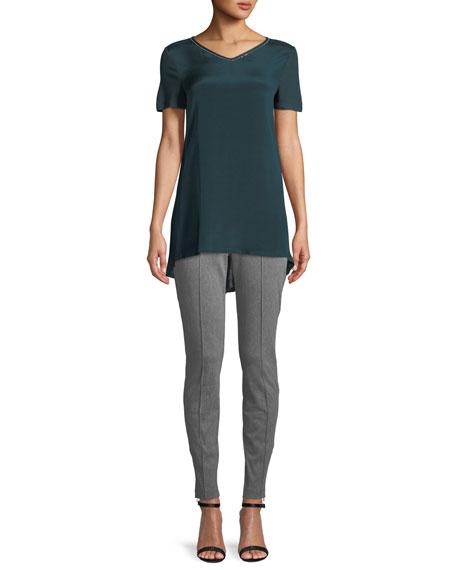 Sleek Short-Sleeve Jersey T-Shirt w/ Swarovski Crystal Trim