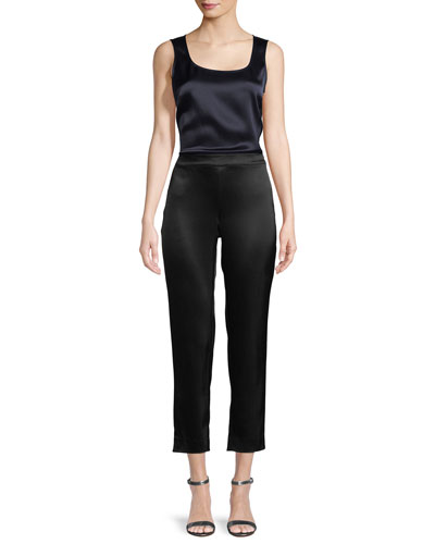 Liquid Satin Side Zip Cropped Pants and Matching Items