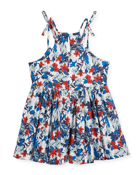 Hibiscus-Print Tank Dress, Size 4-7