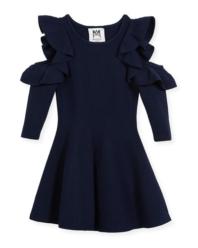 Knit Cold-Shoulder Ruffle Dress, Size 4-7  and Matching Items