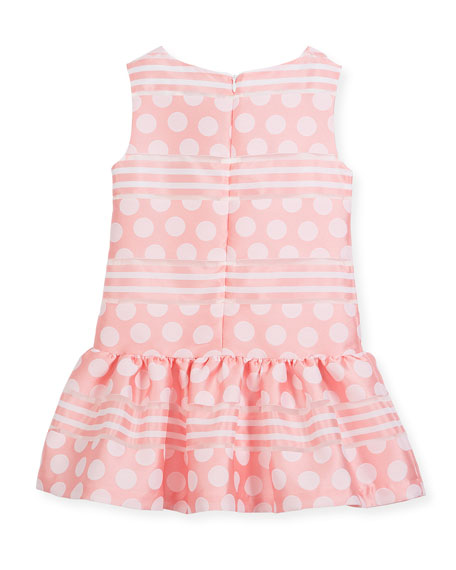 Polka-Dot & Stripe Drop-Waist Sleeveless Dress, Size 10-12