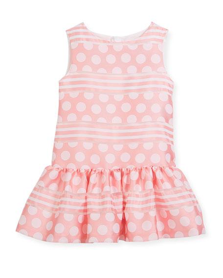 Polka-Dot & Stripe Drop-Waist Sleeveless Dress, Size 2-4
