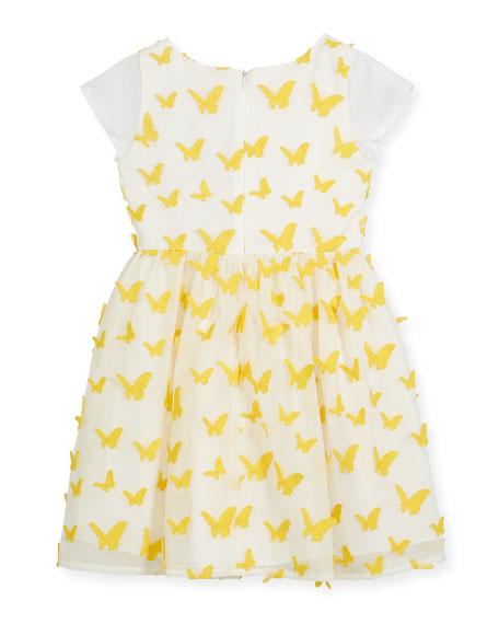 Butterfly Dress w/ Short Sheer Sleeves, Size 10-12