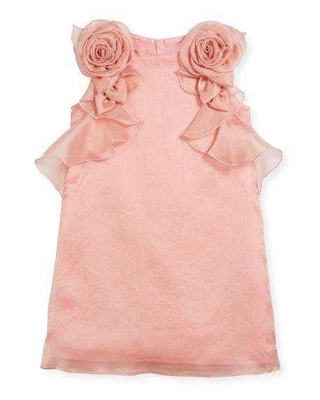 Silk Organdy Sheath Sleeveless Dress w/ Rosettes & Ruffles, Size 4-8