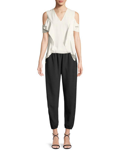 Ellen Ruffle Cold-Shoulder Blouse and Matching Items