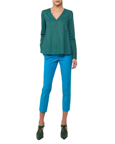 Frankie Stretch-Cotton Pants, Turquoise and Matching Items