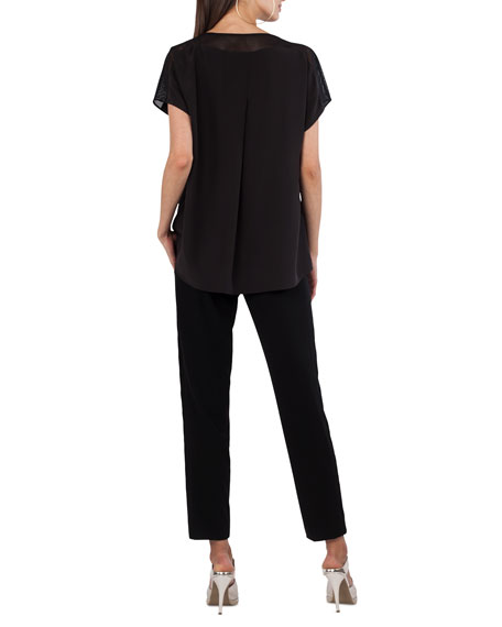 Round-Neck Cap-Sleeve Silk Blouse with Mesh Details