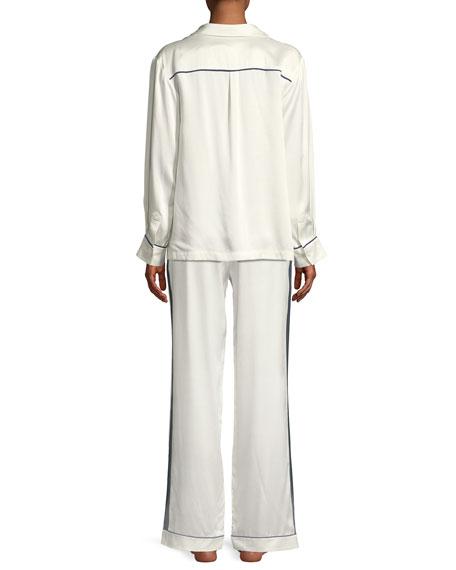 Contrast-Piping Silk Pajama Top
