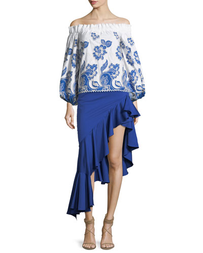 Galiena Off-the-Shoulder Blouson-Sleeve Embroidered Top and Matching Items
