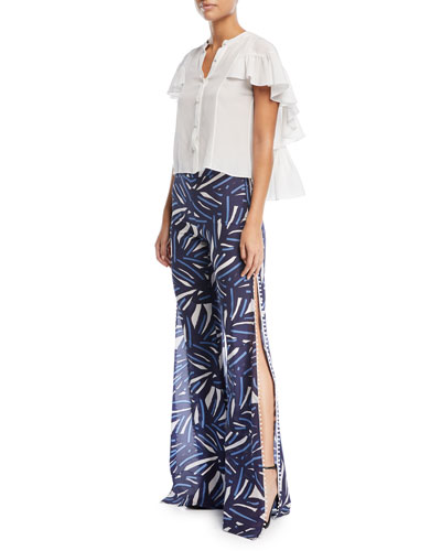 Danijela Button-Front Ruffled Cape Silk Top and Matching Items