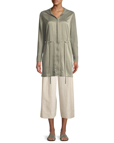 Lustrous Linen Hooded Cardigan with Charmeuse Front and Matching Items