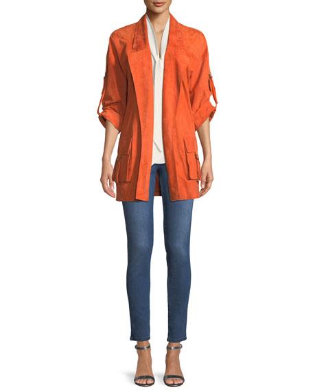 Silken Suede Slouchy-Sleeve Jacket