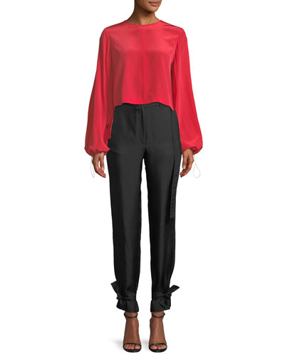 Ruffled-Back Split-Sleeve Cropped Blouse and Matching Items