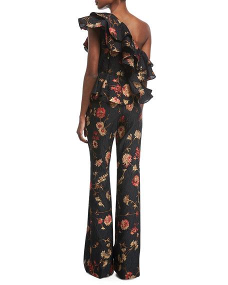 One-Shoulder Floral-Jacquard Peplum Ruffled Top