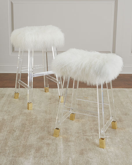 Darnell Acrylic and Sheepskin Bar Stool