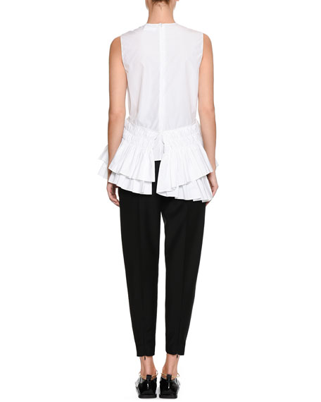 Crewneck Sleeveless Cotton Poplin Top