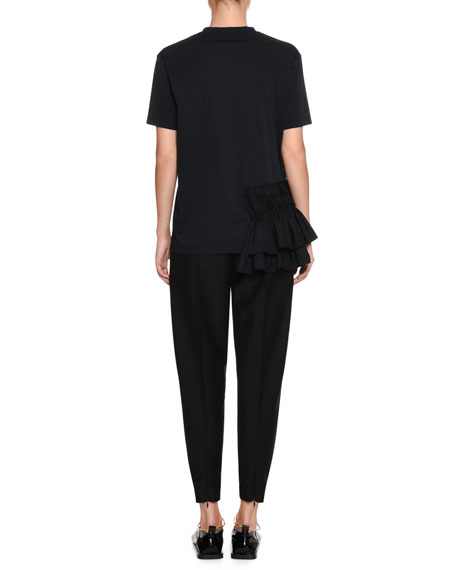Crewneck Short-Sleeve Cotton Poplin T-Shirt with Ruffle Detail