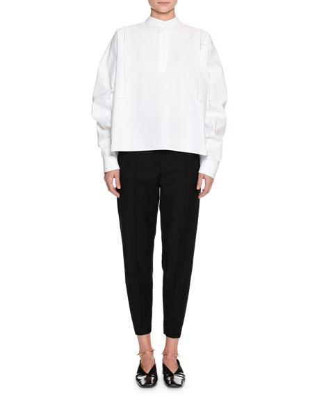 Band-Neck Long-Sleeve Cotton-Pique Shirt