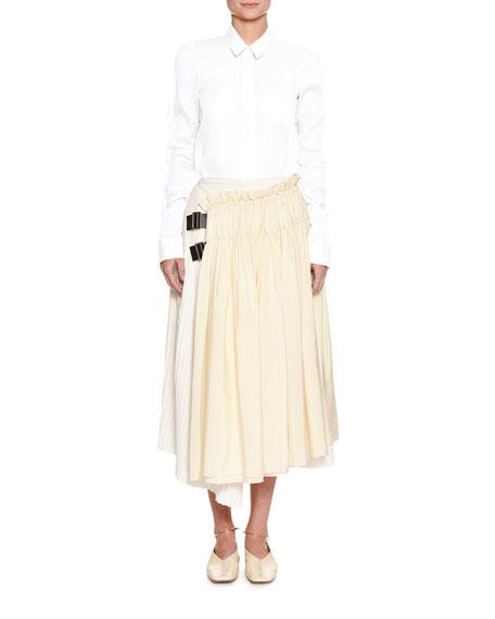 Elizabeth Gathered-Sleeve Updated Classic Cotton Shirt