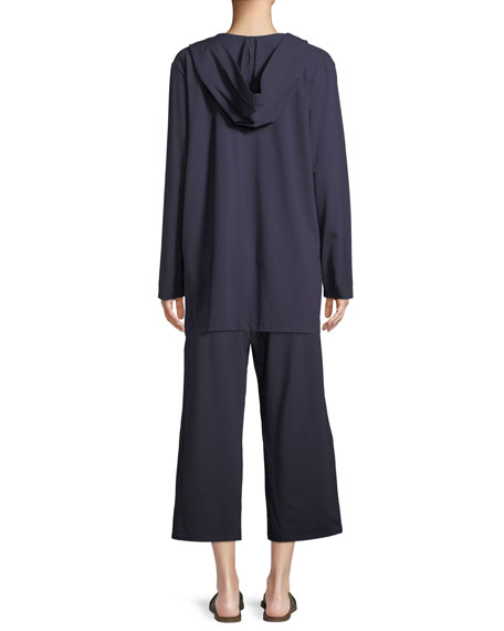 Organic Cotton Jersey Hooded Cardigan, Plus Size