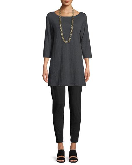 3/4-Sleeve Organic Linen Jersey Tunic, Petite
