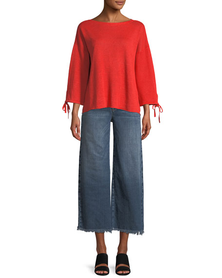 Organic Linen Knit Tie-Cuff Sweater