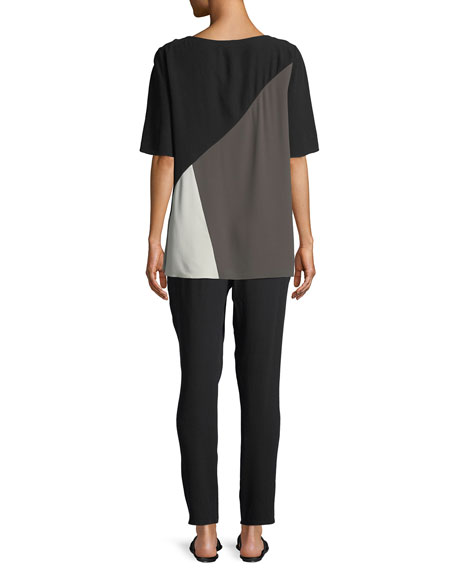 Short-Sleeve Colorblock Silk Top, Plus Size