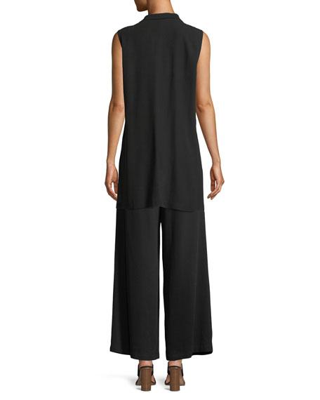 High-Collar Belted Long Silk Vest