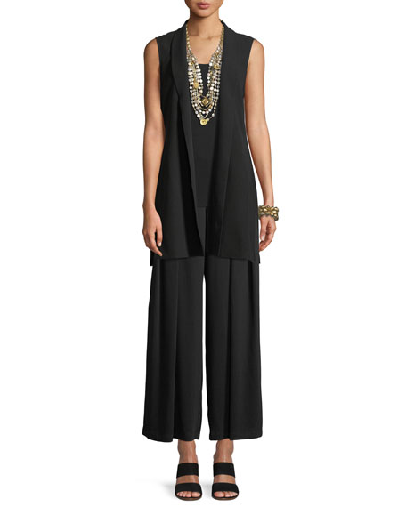 High-Collar Belted Long Silk Vest, Plus Size