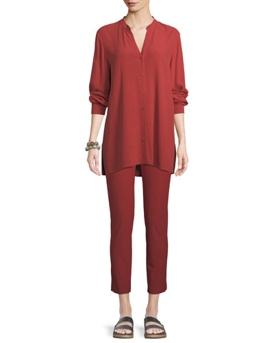 Silk Georgette Crepe Button-Front Top, Petite and Matching Items