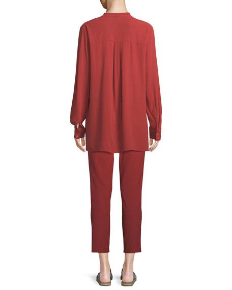 Silk Georgette Crepe Button-Front Top, Plus Size