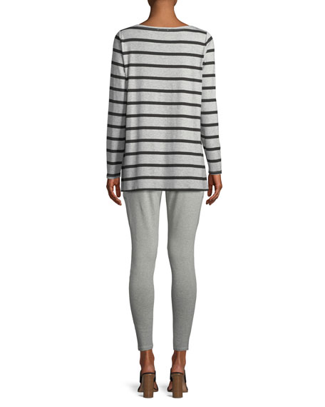 Striped Bateau-Neck Long-Sleeve Top, Petite