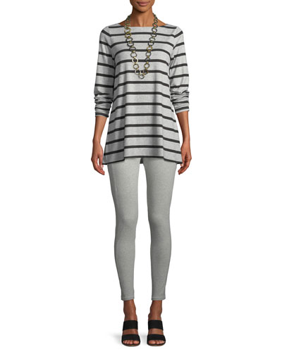 Striped Bateau-Neck Long-Sleeve Top, Plus Size and Matching Items