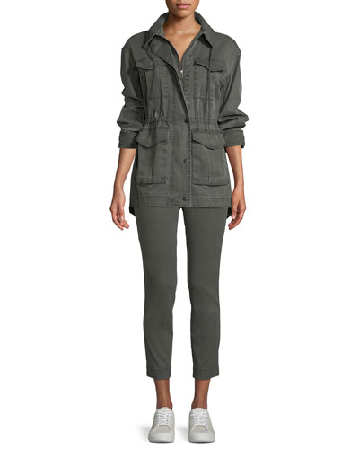 Enzyme Washed Slim Straight-Leg Ankle Pants and Matching Items