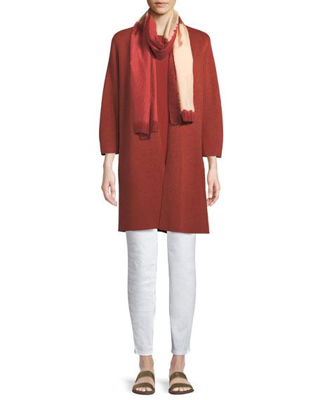 3/4-Sleeve Simple Silk-Blend Long Cardigan