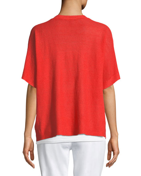 Short-Sleeve V-Neck Organic Linen Top, Plus Size