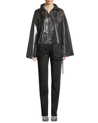 Zip-Front Chiffon-Lined PVC Jacket and Matching Items