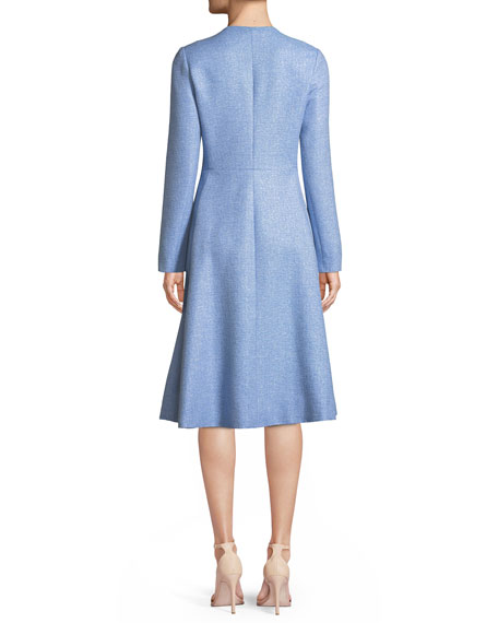 Seamed Flared Button-Front Woven Top Coat