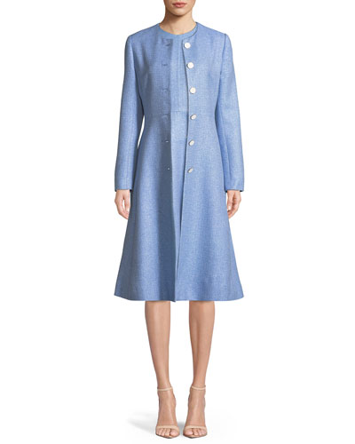 Seamed Flared Button-Front Woven Top Coat and Matching Items