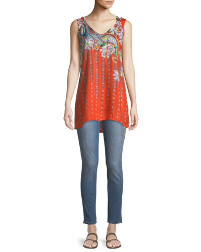 Liv Long Floral-Print Silk Tank and Matching Items