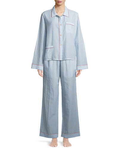 Ruthie Striped Seersucker Pajama Top and Matching Items
