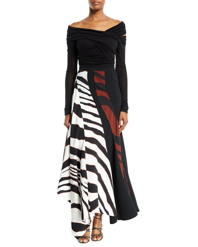 Multi-Shadow Zebra-Print Crepe Maxi Skirt and Matching Items