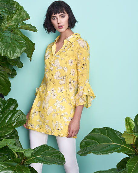 Floral-Print Voile Bell-Sleeve Tunic