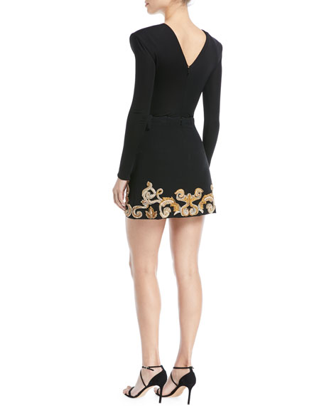 Embellished Hem Crepe Mini Skirt