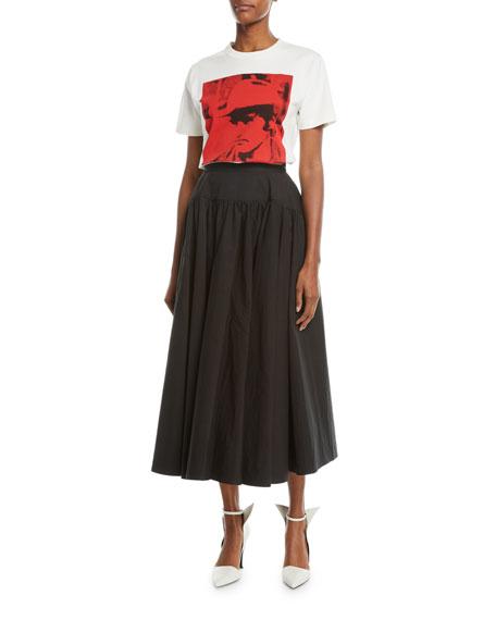 Dennis Hopper Short-Sleeve Round-Neck Oversized T-Shirt, White/Red