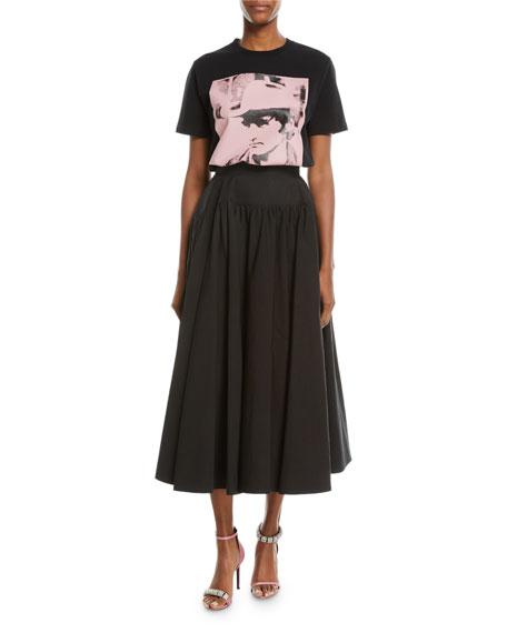 Dennis Hopper Short-Sleeve Round-Neck Oversized T-Shirt, Black/Pink