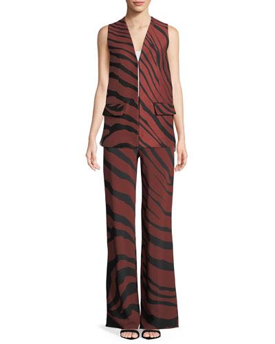 Zebra-Jacquard Hook-Front Vest w/ Plisse Chiffon Back and Matching Items