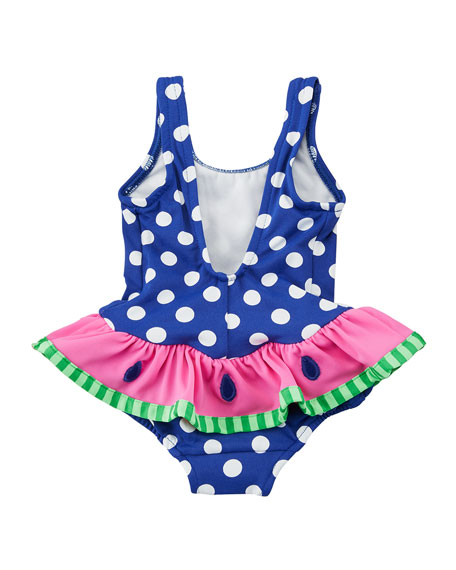 Polka-Dot One-Piece Swimsuit w/ Watermelon Ruffle, Size 6-24 Months