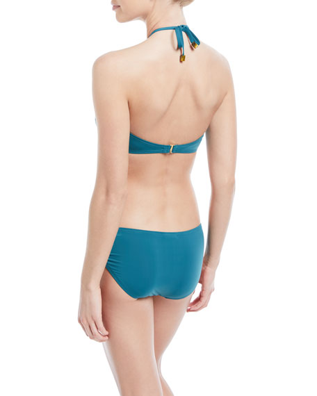 bandeau solid halter swim top
